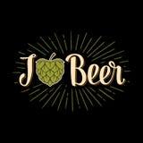 Hoppa i form av hjärta och öl för kalligrafibokstäver I Arkivbilder