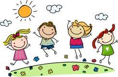 Hoppa lyckliga ungar Arkivfoto