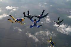Hoppa med fritt fall gruppen Arkivbild