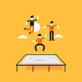 Hoppa ungar på trampolinen royaltyfri illustrationer