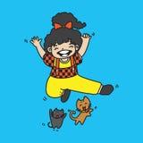 Hoppar den gulliga flickan för illustrationvektorn med katten Royaltyfri Bild