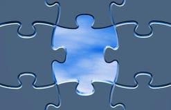 Hoppbegrepp med den blåa illustrationen för pussel Royaltyfria Foton