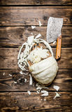 Hopped cabbage with an old hatchet . Royalty Free Stock Images