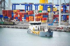 Hopper dredger carrier. Old hopper dredger carrier in harbor bay Royalty Free Stock Image