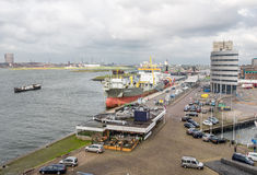 Hopper dredger in the harbor of IJmuiden. Royalty Free Stock Photos