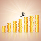 Hopping on Gold Coin Ladder. Vector illustration of man silhouette hopping on gold coin ladder like graphic Royalty Free Stock Images