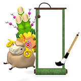Hopping Sheep And Big Kadomatsu With Empty Scroll Royalty Free Stock Image