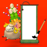 Hopping Sheep And Big Kadomatsu With Empty Scroll On Red Background Royalty Free Stock Photography