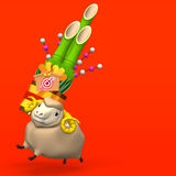 Hopping Sheep And Big Kadomatsu On Red Text Space Stock Image