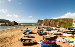 Hopplilla viken är en liten sjösidaby inom den borgerliga församlingen av södra Huish i det södra skinkaområdet, Devon, England Royaltyfri Fotografi