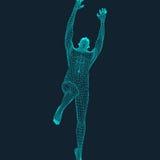 Hoppman Polygonal design modell 3D av mannen planlägg geometriskt Affär vetenskap och teknikvektorillustration royaltyfri illustrationer