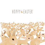 Hoppy sea of cute bunnies with skinny hand drawn message Royalty Free Stock Photography