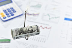 Hoprullad snirkel av dollarräkningen för USA 100 på en fiskekrok Royaltyfria Foton
