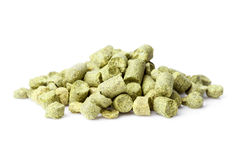 Hops pellets isolated on white Royalty Free Stock Photography