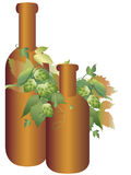 Hops plant and bottle Stock Image