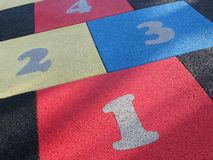Hopscotch. Numbers on a playground surface Stock Photo