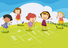 Hopscotch. Illustration of kids playing hopscotch Royalty Free Stock Images