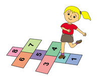 Hopscotch. A cartoon illustration of a cute young girl playing hopscotch Royalty Free Stock Image