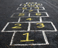 Hopscotch. A traditional European child's hopscotch game Royalty Free Stock Photo