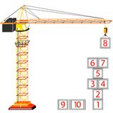 Hopscotch building. Concept and crane against white background, abstract vector art illustration Royalty Free Stock Image