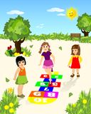 Hopscotch, cdr vector. Girls playing hopscotch in the park, illustration, vector format royalty free illustration