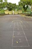 Hopscotch grid points to gate Royalty Free Stock Photos