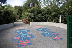 Hopscotch in Dallas Arboretum. Children adventure garden , TX USA stock photography