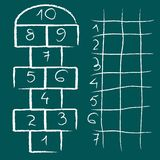 Hopscotch game and chart Stock Photos