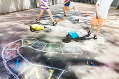 Hopscotch game drawn on the road with chalk Stock Photography