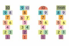 Hopscotch game illustration in colorful. letters. And numbers fun child game background toy Stock Photo