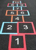 Hopscotch squares. A Hopscotch grid in a children's playground Royalty Free Stock Images