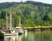 Free HOQUIAM, WASHINGTON: AUGUST 2017: Local Fishing Boats Sit In The Bend Of The Hoquiam River In Grays Harbor County, Washington. Royalty Free Stock Images - 106659279