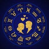 Horóscopo de oro del amor en el círculo libre illustration