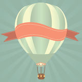 Hor air balloon. Hot air balloons in the sky. Vector illustration. Greeting card background Stock Image