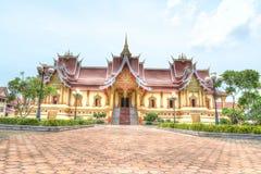 Hor Dhammasabha i Wat Phra That Luang Vientiane buddistiskt tempel Royaltyfria Bilder
