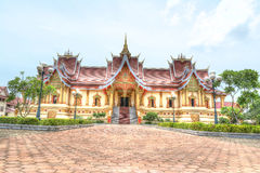 Hor Dhammasabha in Wat Phra That Luang Vientiane. Buddhist temple Royalty Free Stock Images