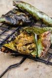 ` Hor knackar ` är den traditionella hemlagade kryddiga champinjonen som grillas av sydlig thailändsk mat royaltyfria bilder