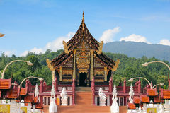 Hor Luang. The natural surroundings and the green hills enhance the beauty of the graceful Hor Kam Luang, the Royal Pavilion, which stands prominently as if it royalty free stock image