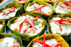 Hor mok, thai food, steamed fish curry custard. In banana leaf Royalty Free Stock Photo