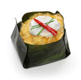 Hor mok, thai food. Steamed fish curry custard in banana leaf Royalty Free Stock Photography