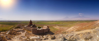 Hor Virap. The Chorus temple Hor Virap in the mountains of Armenia Stock Images