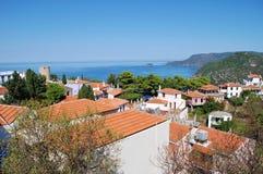Hora村庄, Alonissos 库存图片