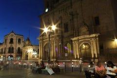 Hora azul, catedral. La hora azul en el centro de la ciudad de leon, estilo colonial y moviento de liz Royalty Free Stock Photo