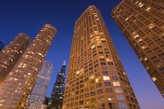 Hora azul en Chicago imágenes de archivo libres de regalías