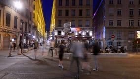 Hora, bistrot y estilo azules de Lyon de la vida, Francia almacen de metraje de vídeo