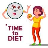 Hora de adietar el concepto, reloj de pared que grita en la muchacha con vector de la hamburguesa Ejemplo aislado de la historiet libre illustration