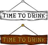 Hora de beber a etiqueta Fotografia de Stock Royalty Free