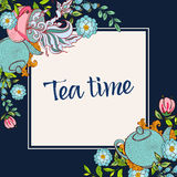 Hora de beber o chá Cartaz na moda Imagens de Stock