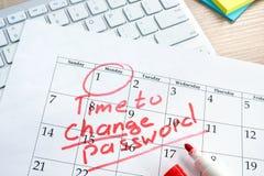 Hora de cambiar contraseña Gestión de la contraseña imagen de archivo