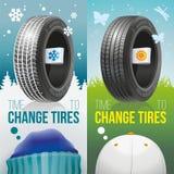 Hora de cambiar los neumáticos - neumáticos del invierno y del sumer Libre Illustration